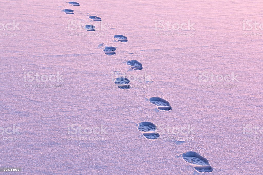 Footprints on snow stock photo