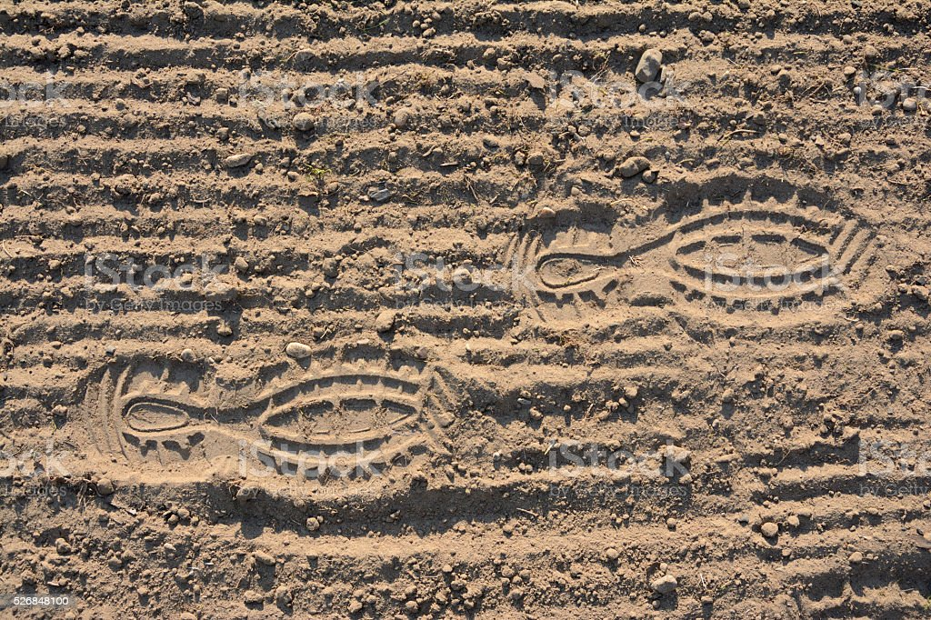 Footprints on soil stock photo