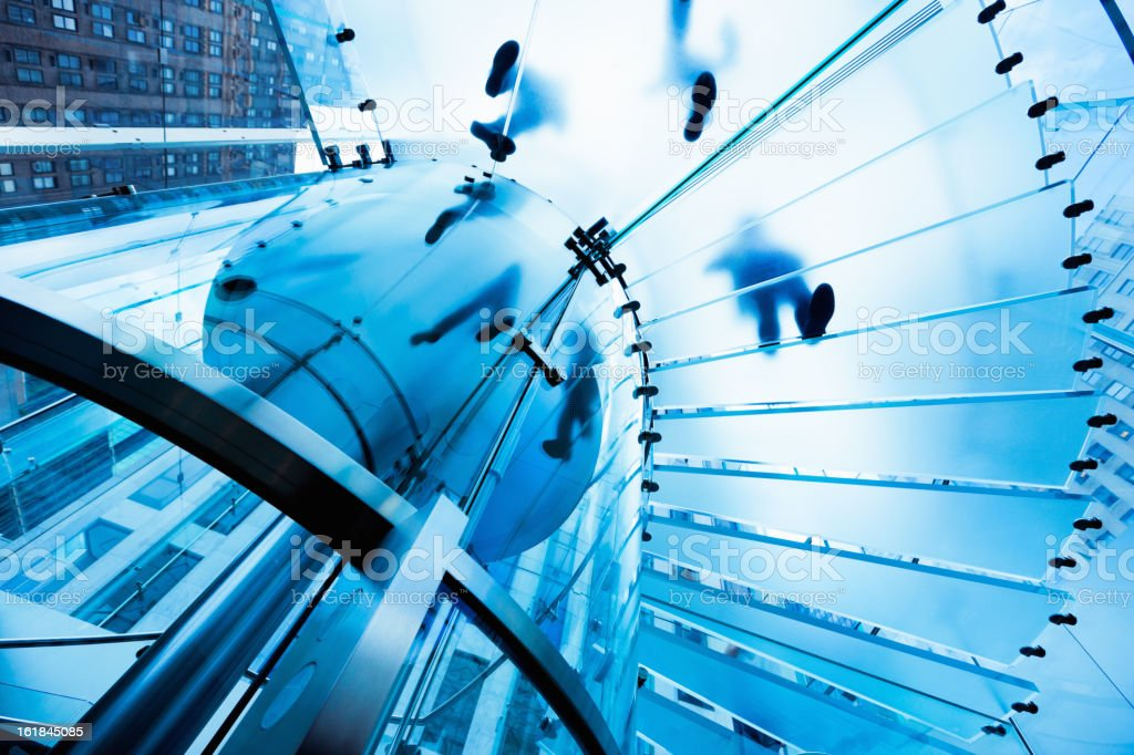 Footprints Staircase Modern Glass Architecture stock photo