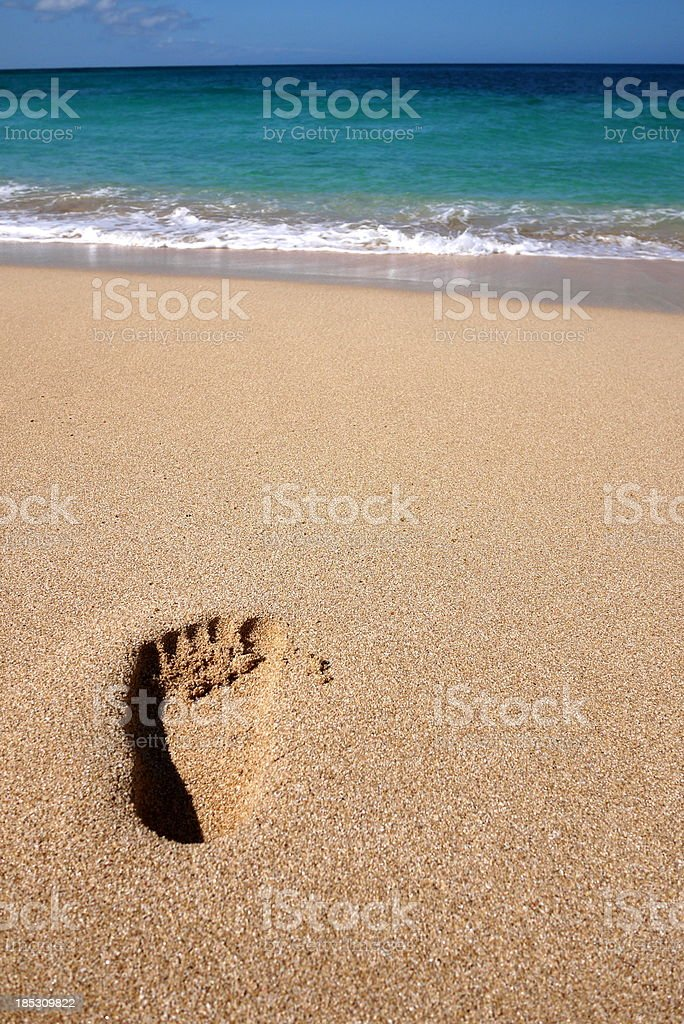 Footstep at the Beach stock photo