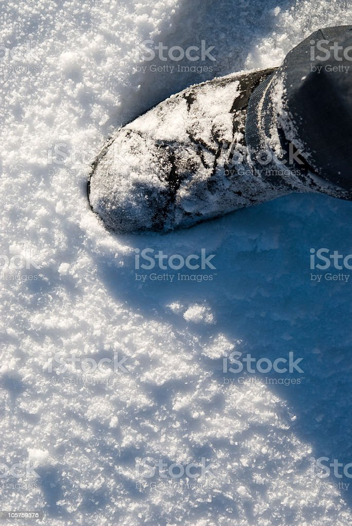 Footstep in the snow royalty-free stock photo