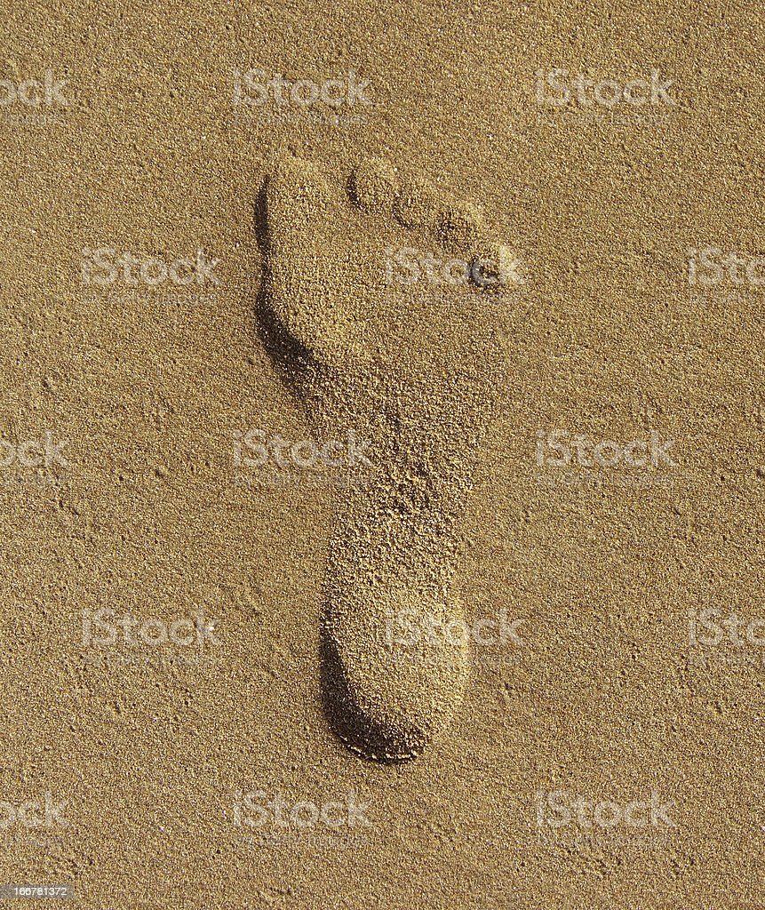 Footstep on sand royalty-free stock photo