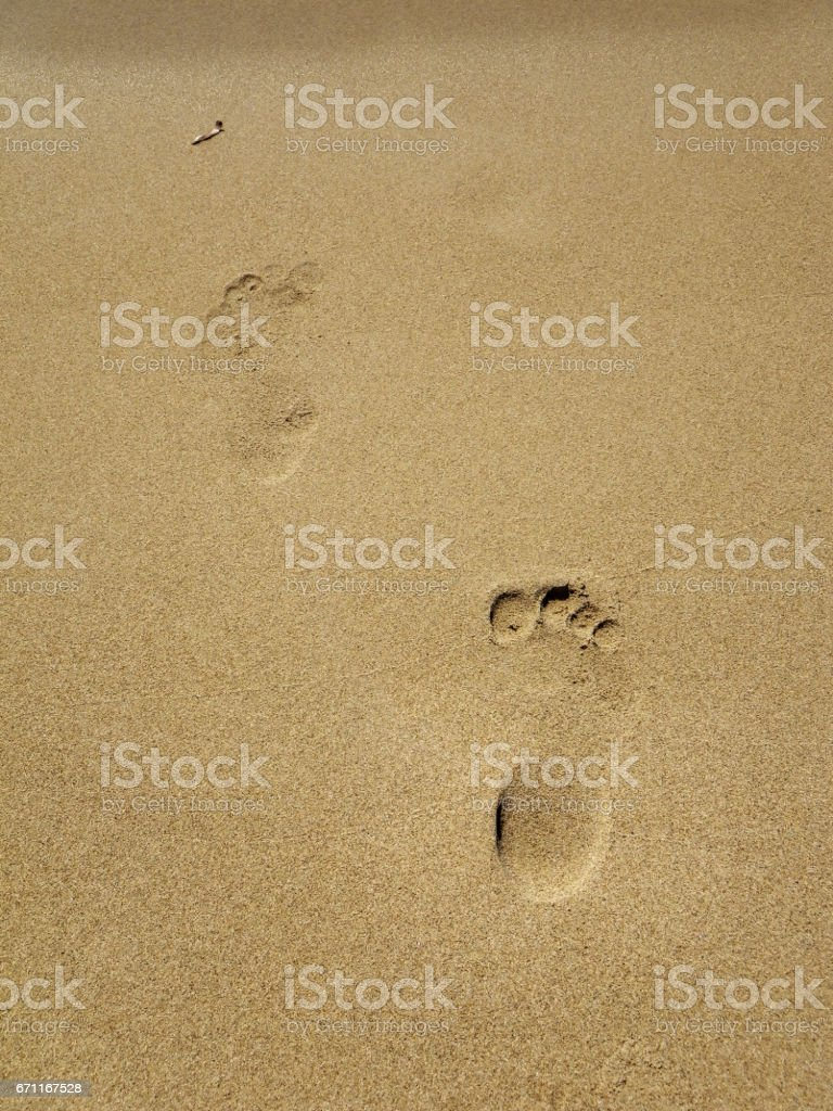 footstep to sea stock photo