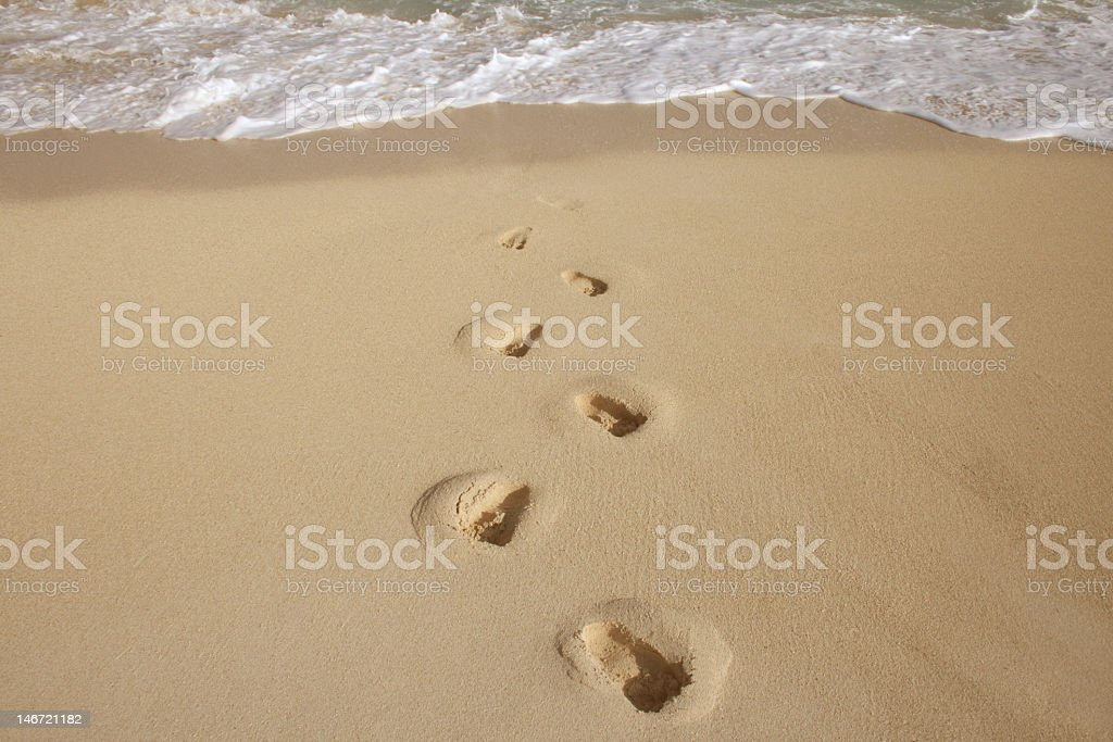 Footsteps from the beach. royalty-free stock photo
