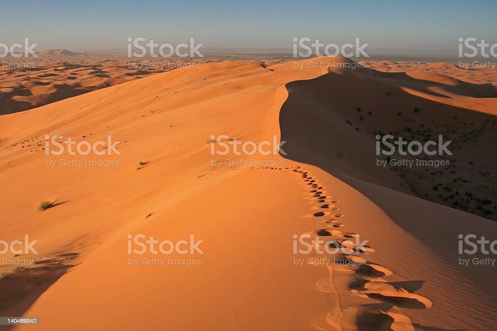 Footsteps in Erg Chebbi sand dunes stock photo
