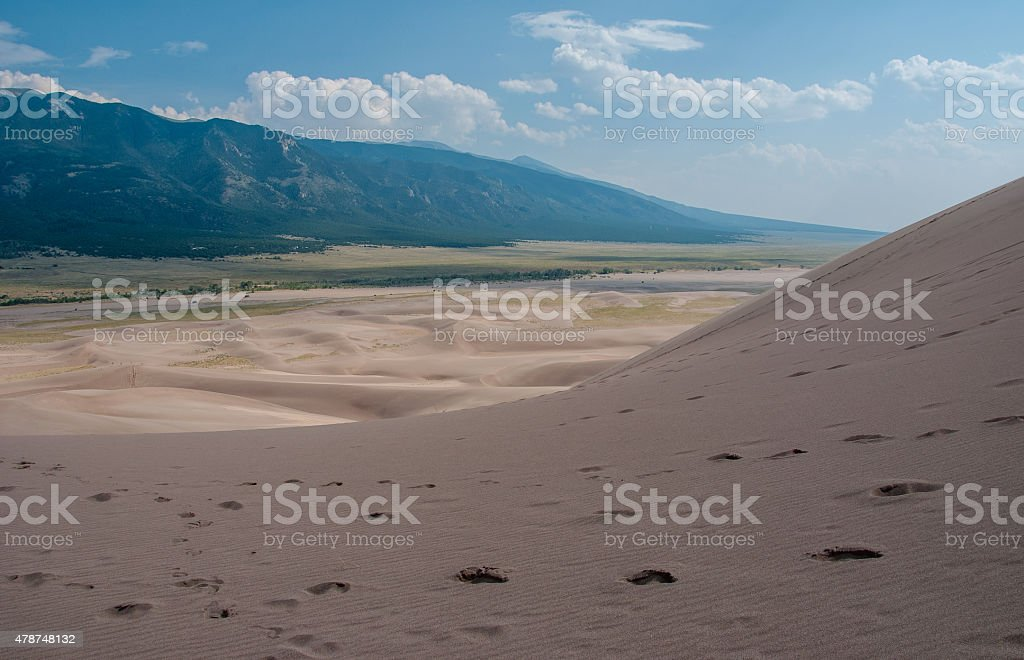 Footsteps in the sands colorado great sand dunes national park stock photo