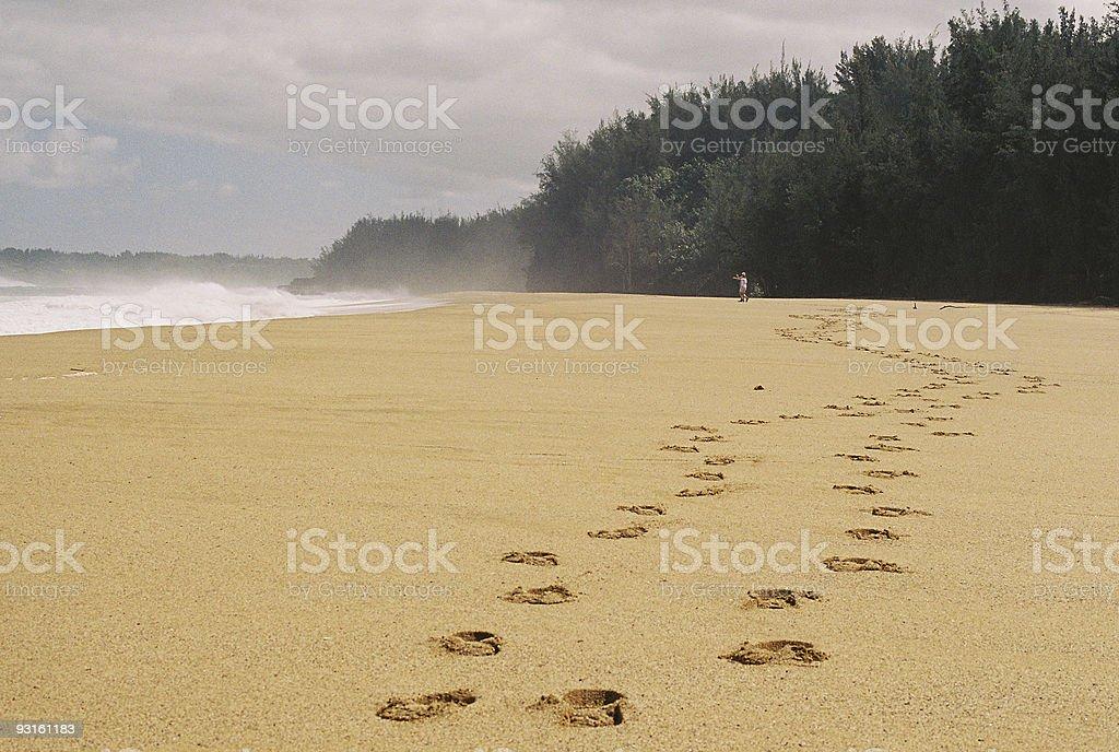 Footsteps on a Kauai Hawaii beach royalty-free stock photo