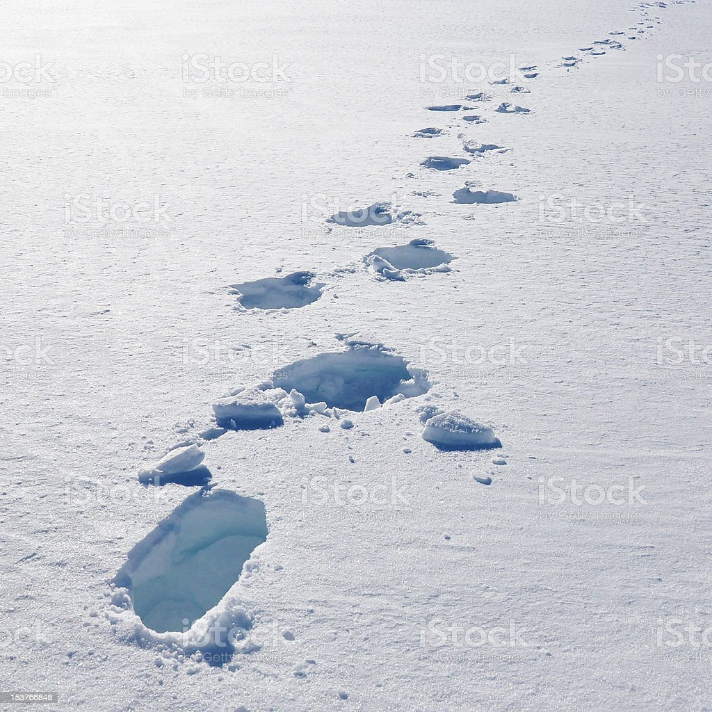 Footsteps on the snow royalty-free stock photo