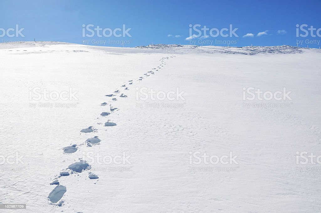 Footsteps on the snow. Pizol, Swiss Alps stock photo