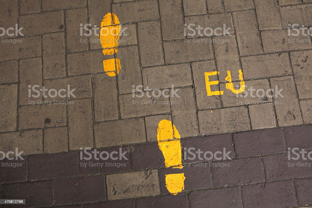 Footsteps to the European Union. Direction sign in EU headquarte stock photo