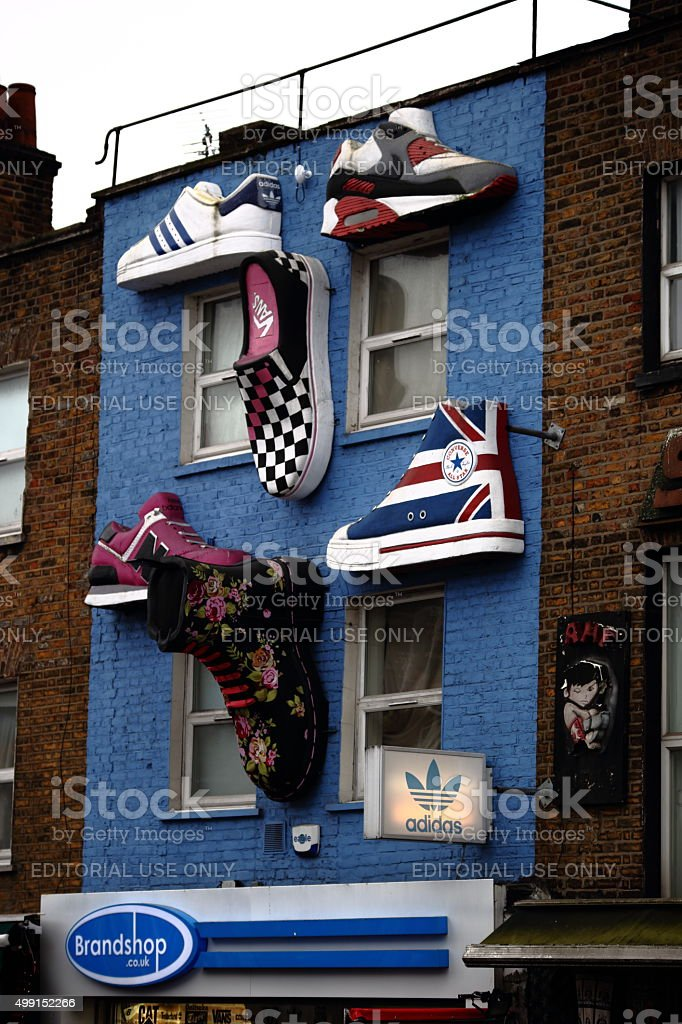 Footwear on building stock photo