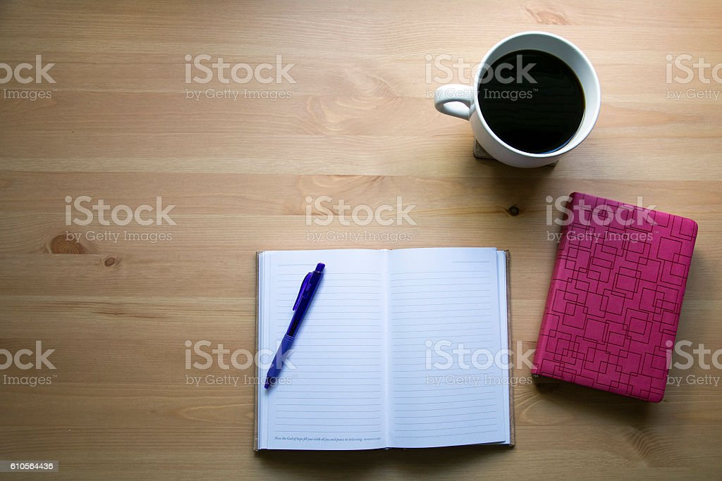 for a good morning for bible and coffee stock photo