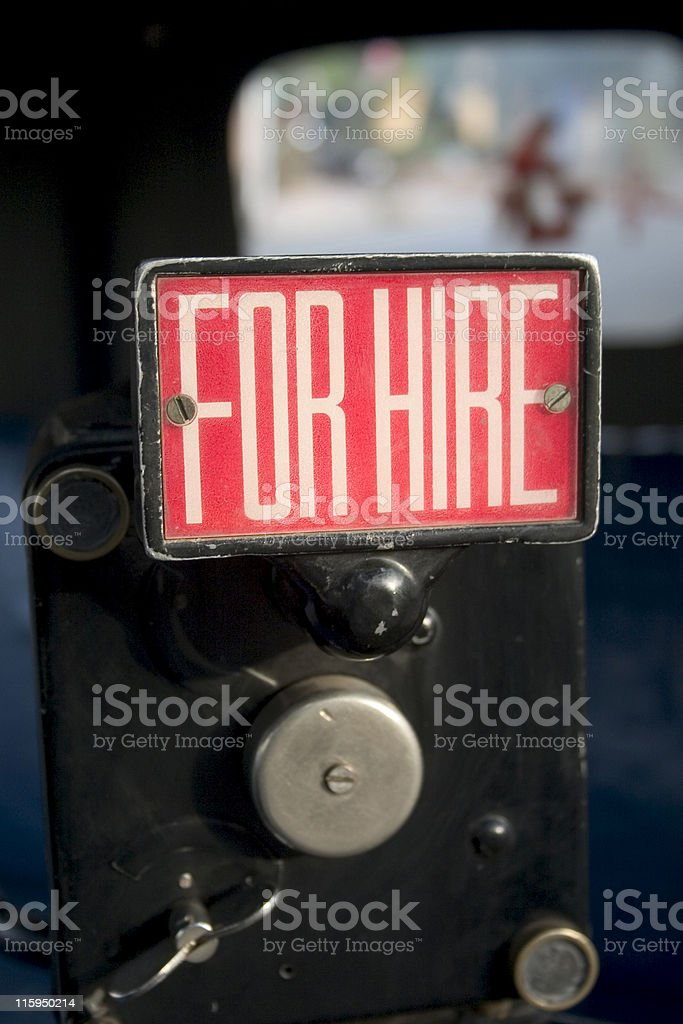 For Hire sign on Auto Rickshaw Tuk-tuk Taxi rent Vertical stock photo