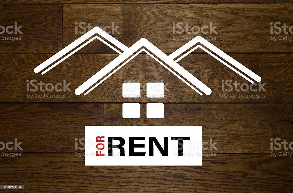 For rent advertisement with white houses stock photo