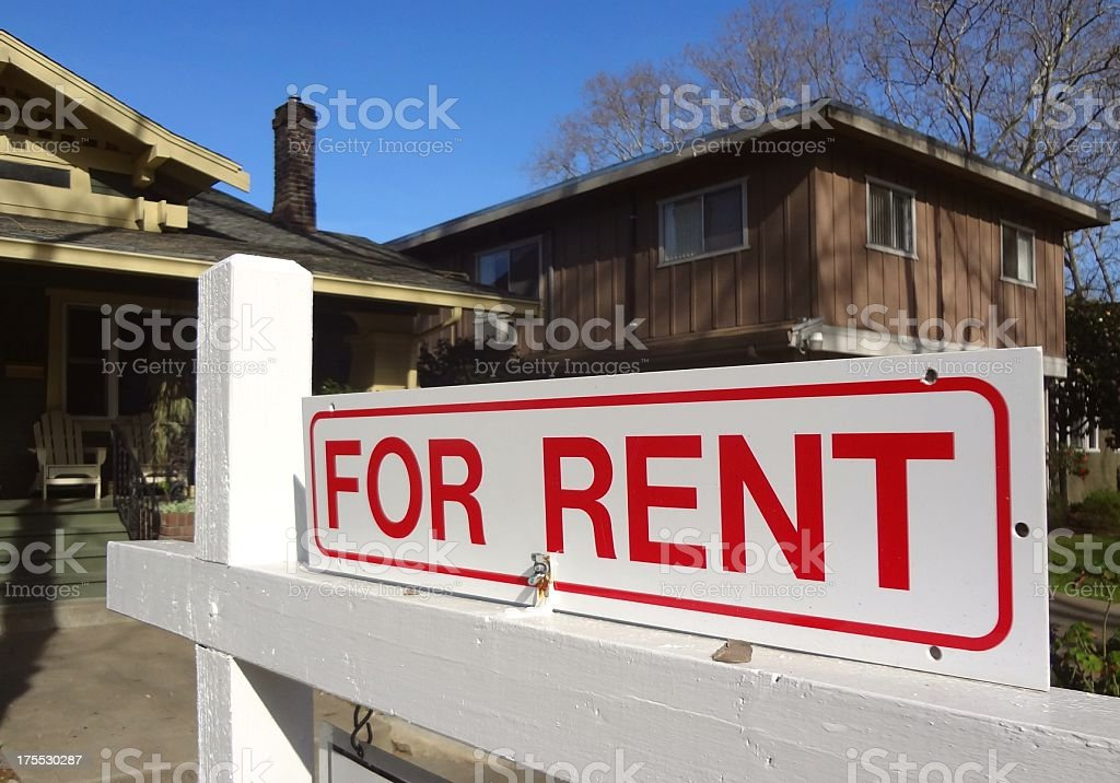 For Rent real estate sign outside a home in California stock photo