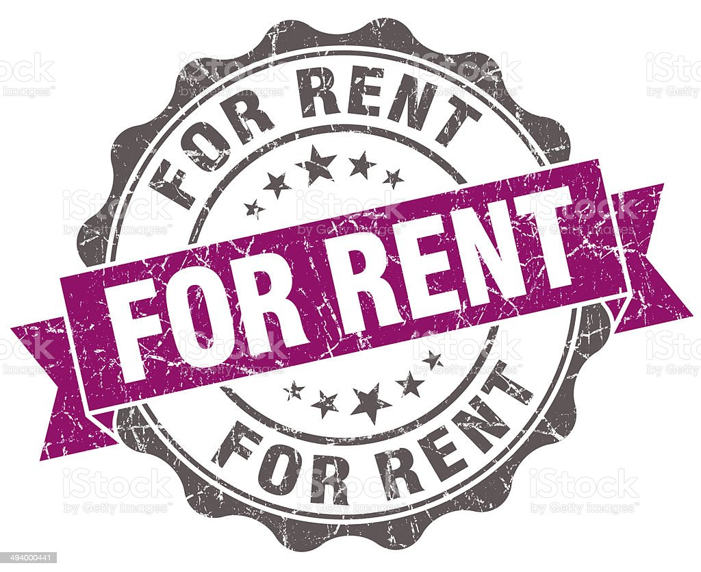 For rent violet grunge retro vintage isolated seal stock photo