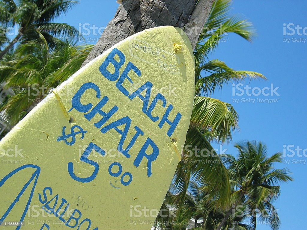 For rent...beach chair stock photo