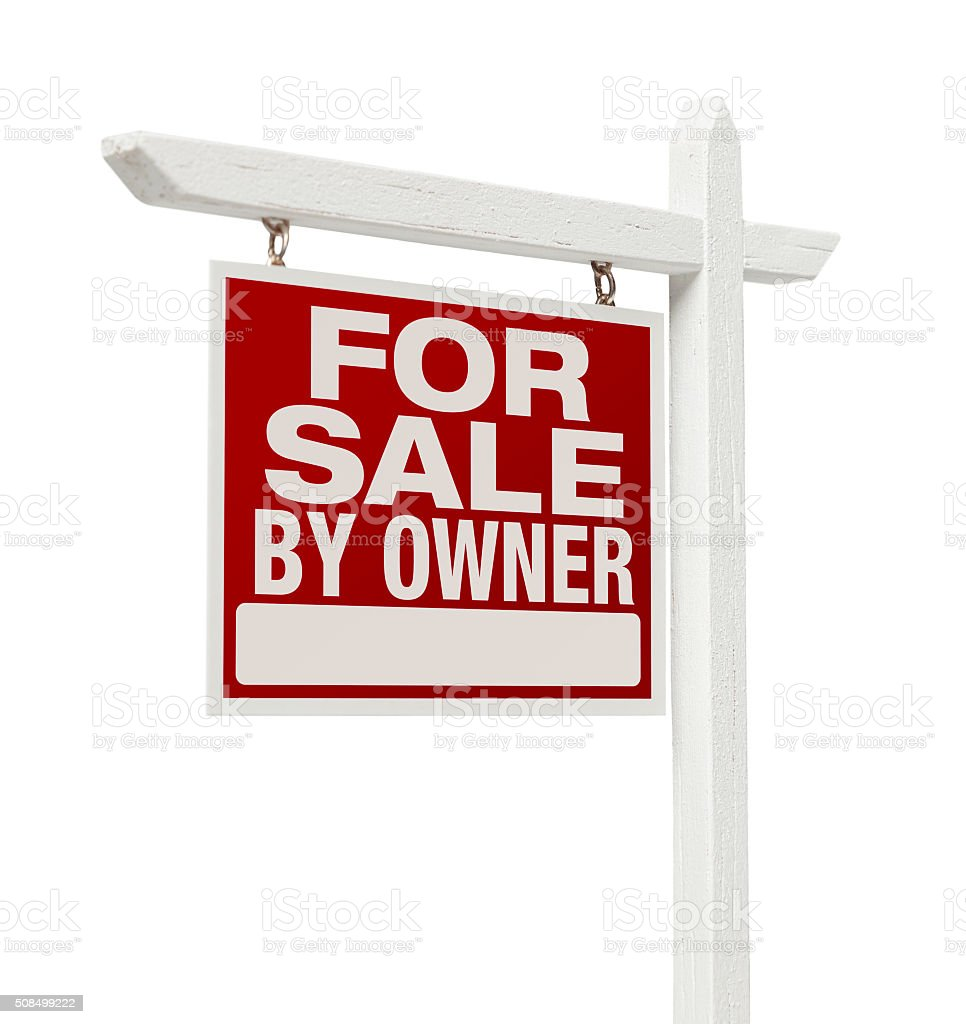 For Sale By Owner Real Estate Sign Isolated on White stock photo