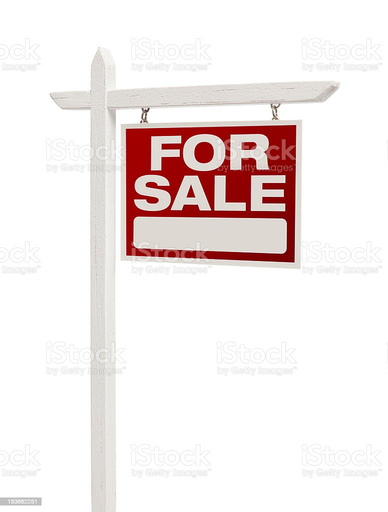 For Sale Real Estate Sign on White with Clipping Path stock photo