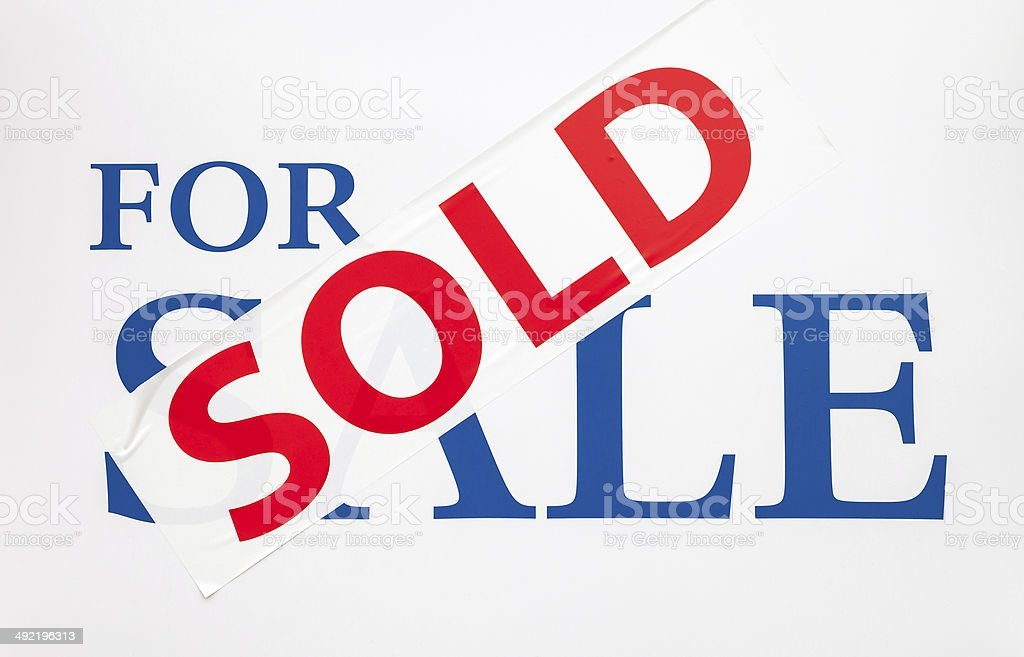 For Sale Sign with Sold Sticker stock photo