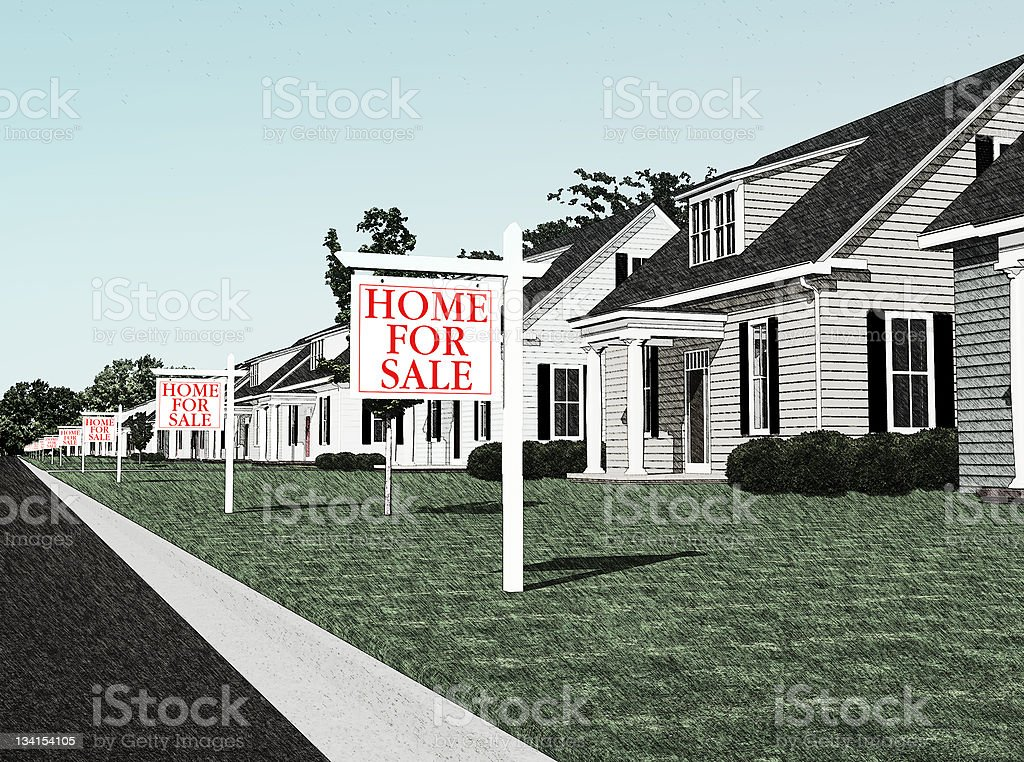 For sale signs stock photo