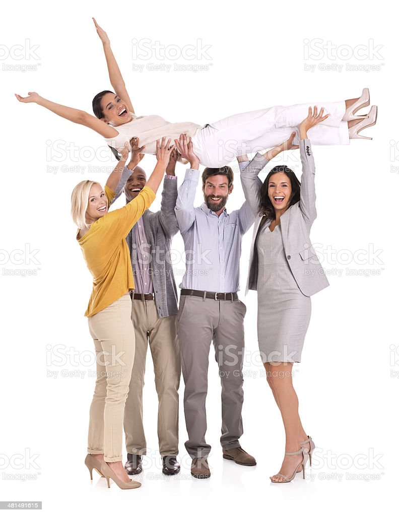 For she's a jolly good fellow-worker stock photo