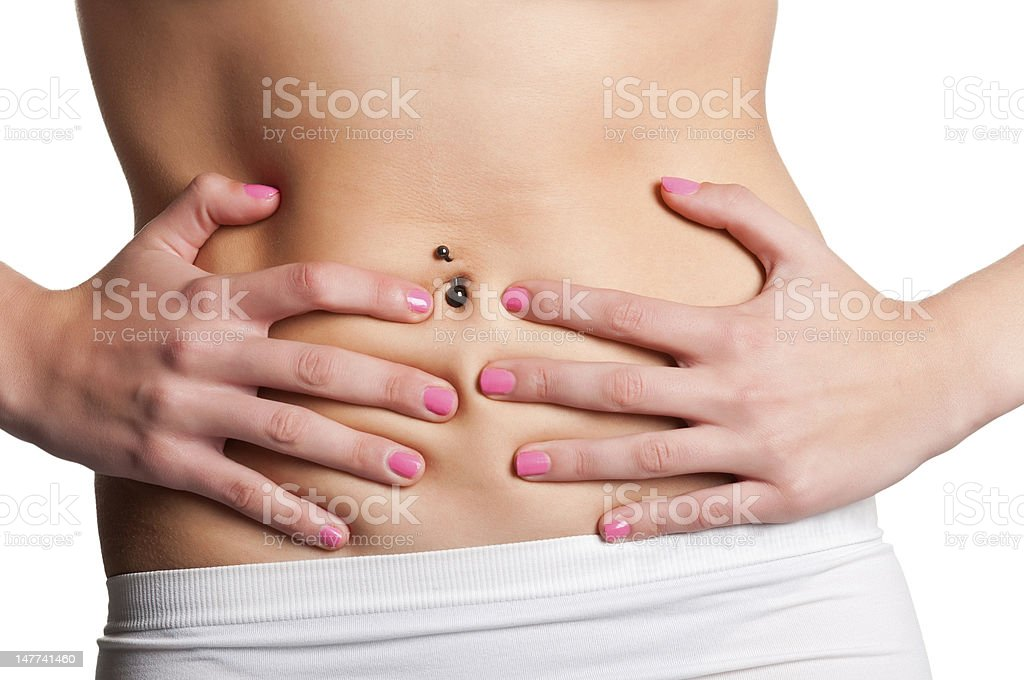 For young woman clutching at her stomach ache royalty-free stock photo