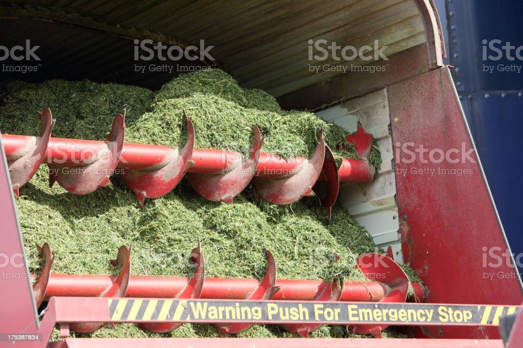 Forage Box Preparing to Unload Hay into Silo stock photo