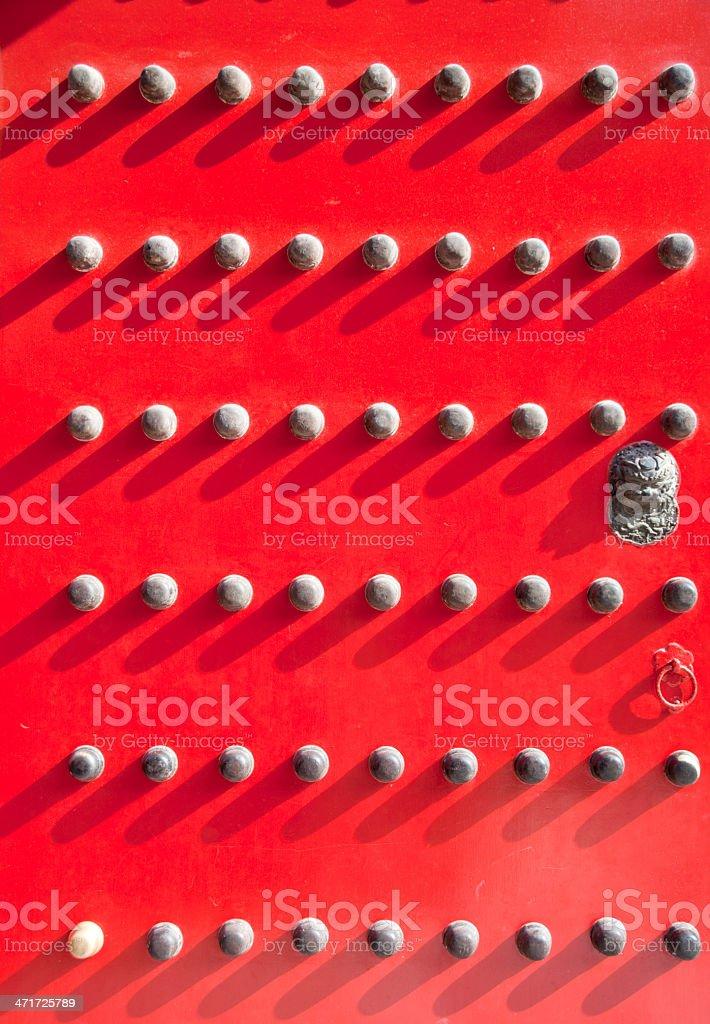 Forbidden City decorations on the door stock photo