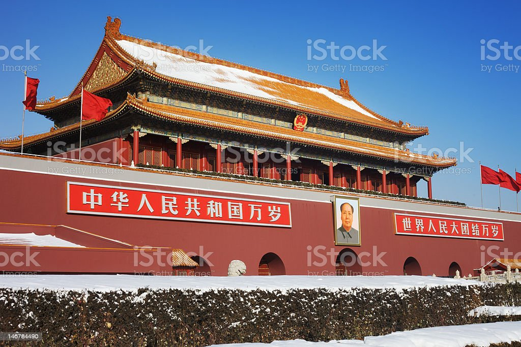 Forbidden City in Beijing, China during Winter stock photo