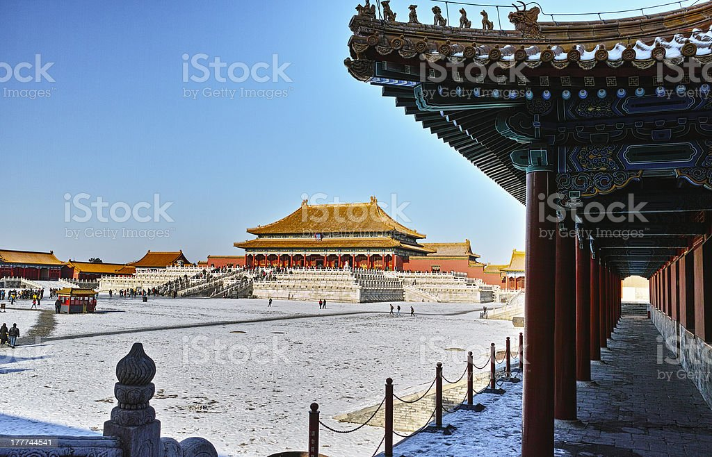 Forbidden City in winter stock photo
