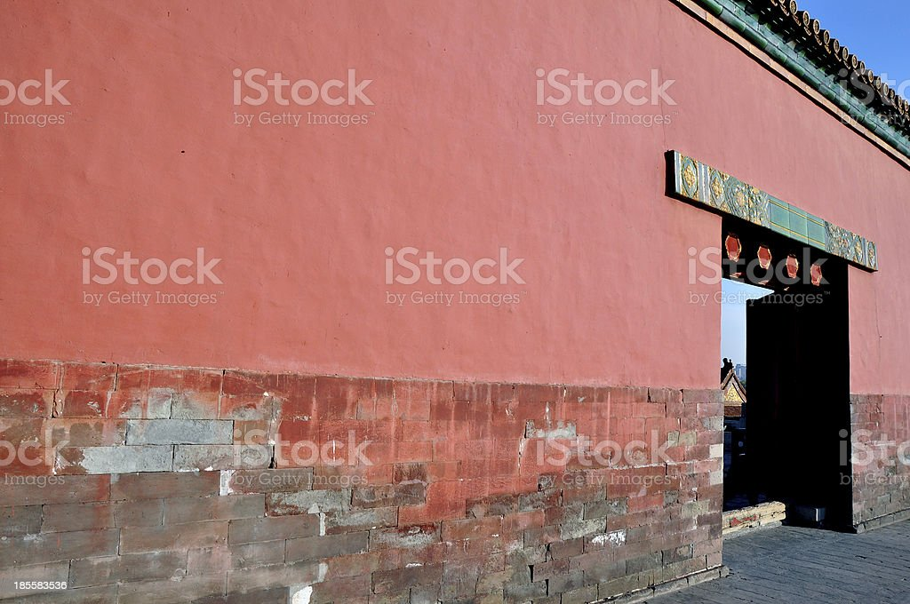 Forbidden City (red wall) stock photo