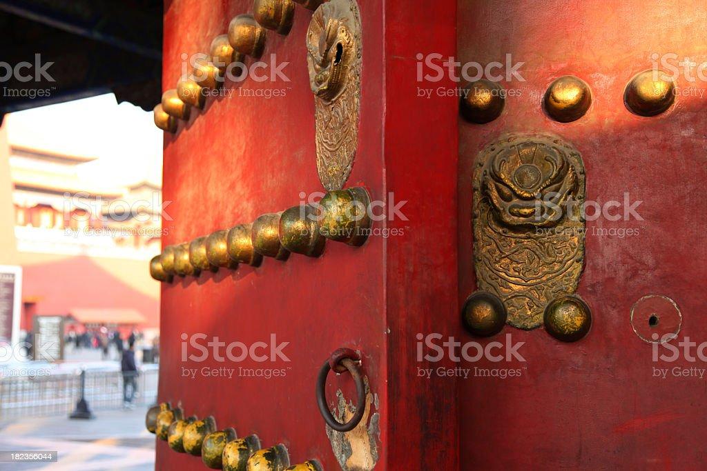 Forbidden City: Red Doors and Lion Door Knockers royalty-free stock photo