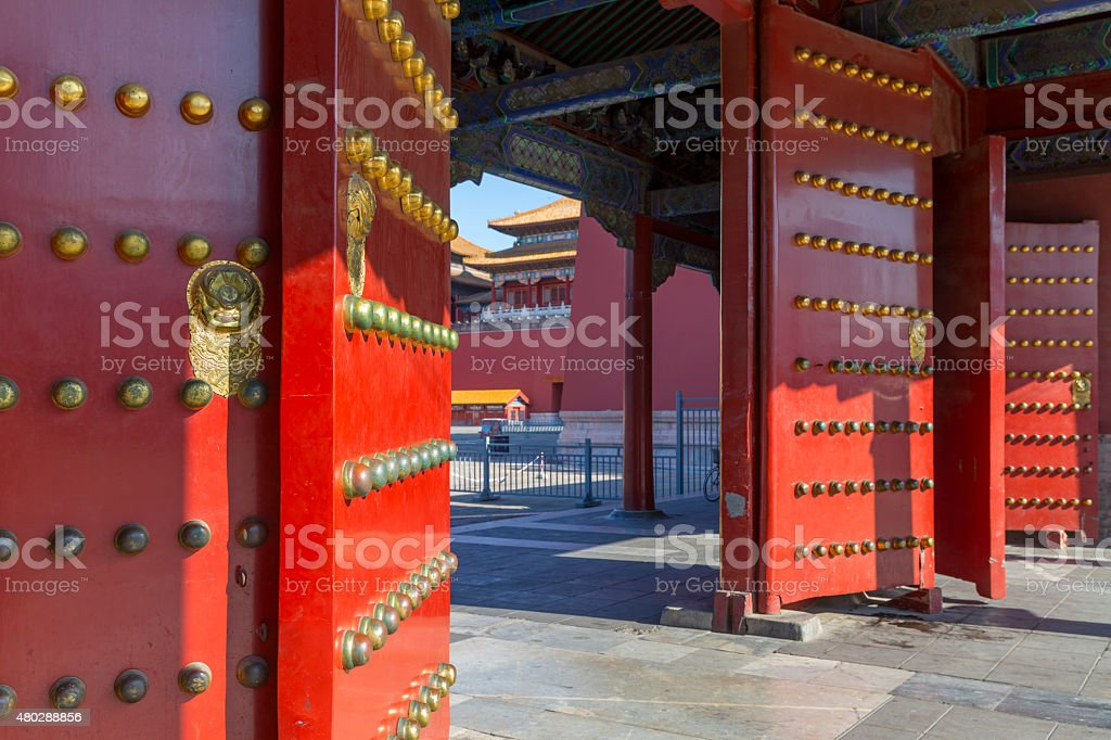 Forbidden City: Red Doors and Lion Door Knockers stock photo