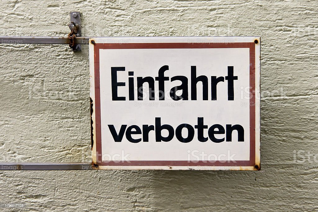 forbidden entrance sign Germany royalty-free stock photo