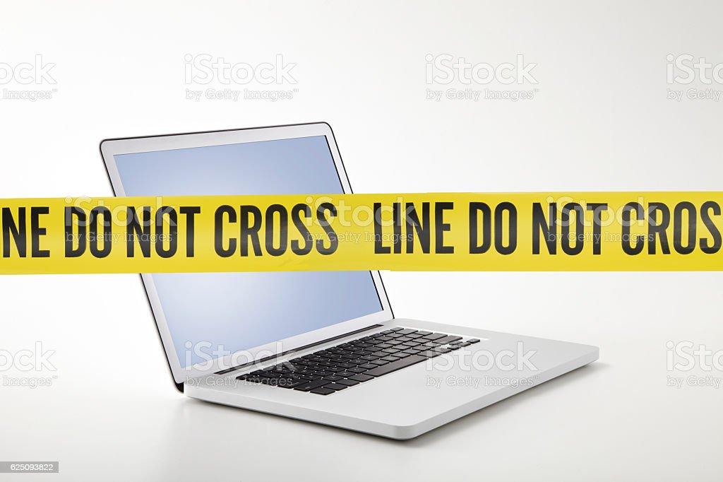 forbidden laptop stock photo