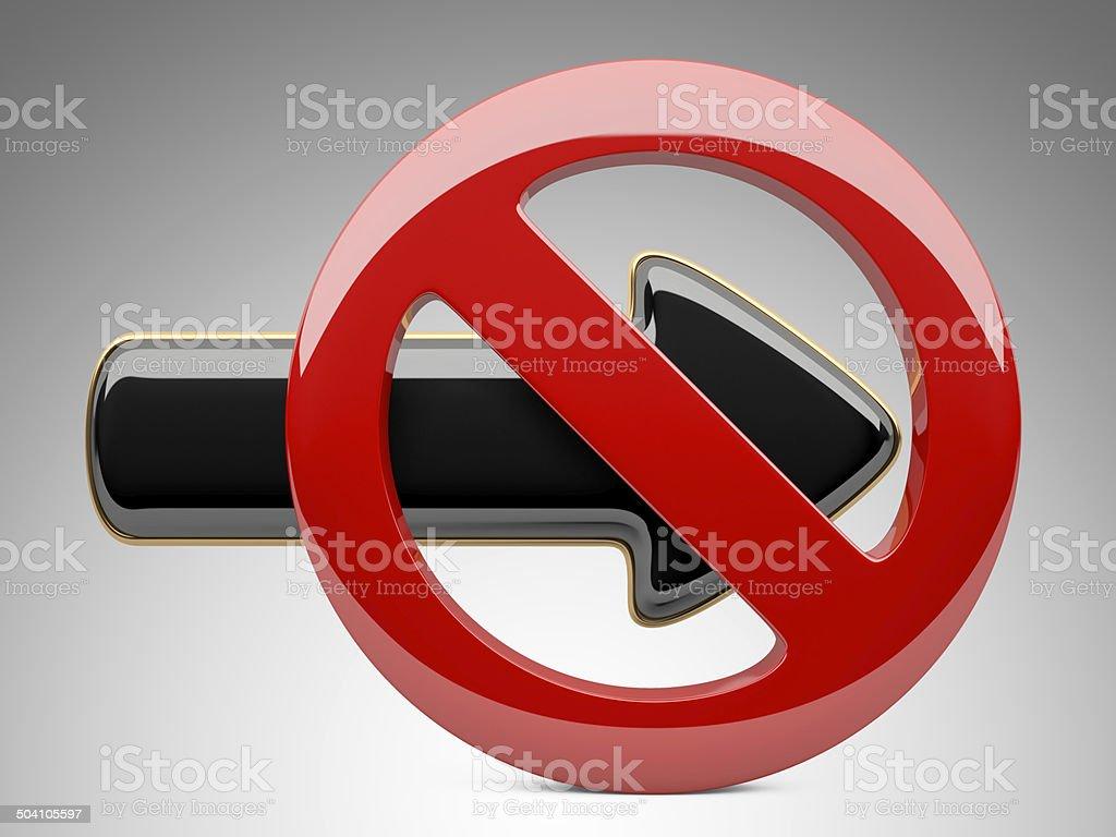 forbidden sign and arrow stock photo