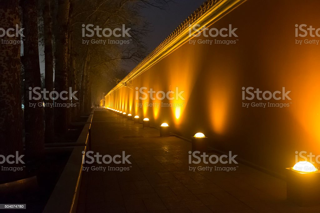 Forbiden City Wall at Night in Beijing, China stock photo