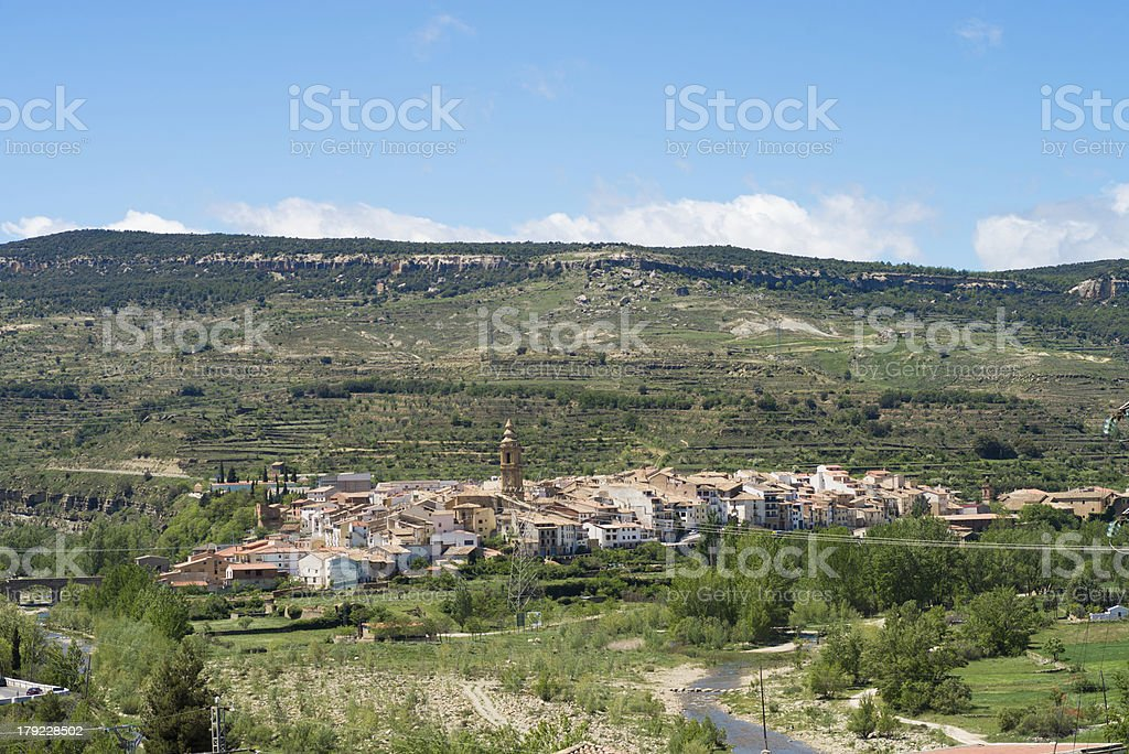 Forcall town and valley royalty-free stock photo