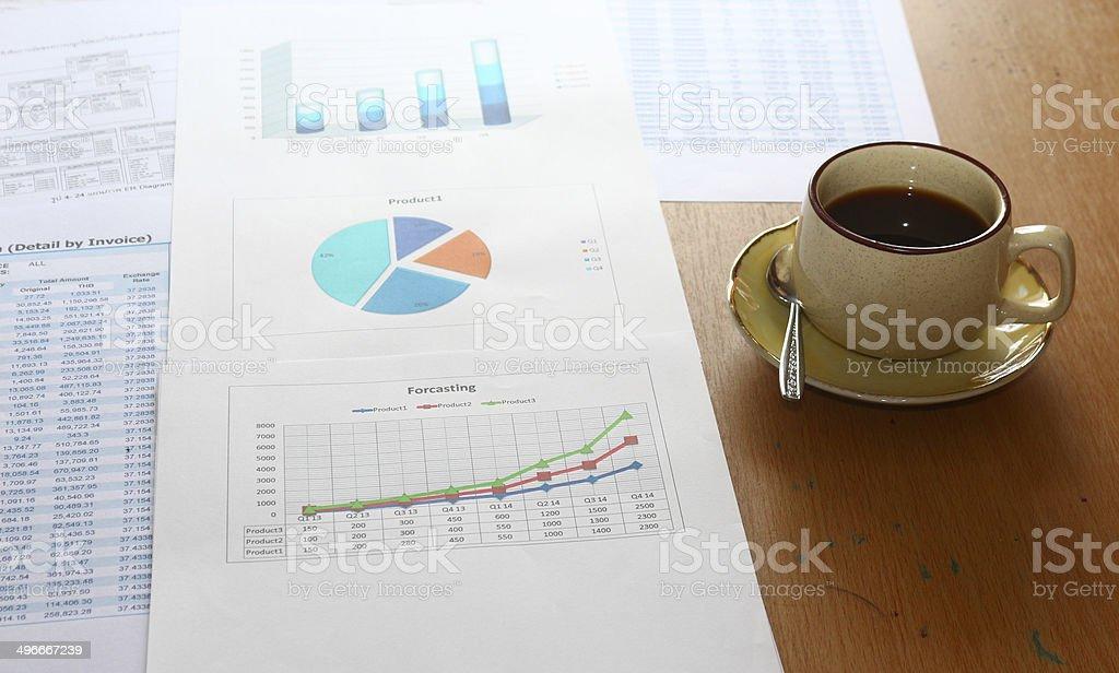 forcasting и анализировать доходов диаграммы, графы отчет с чашкой кофе, Стоковые фото Стоковая фотография