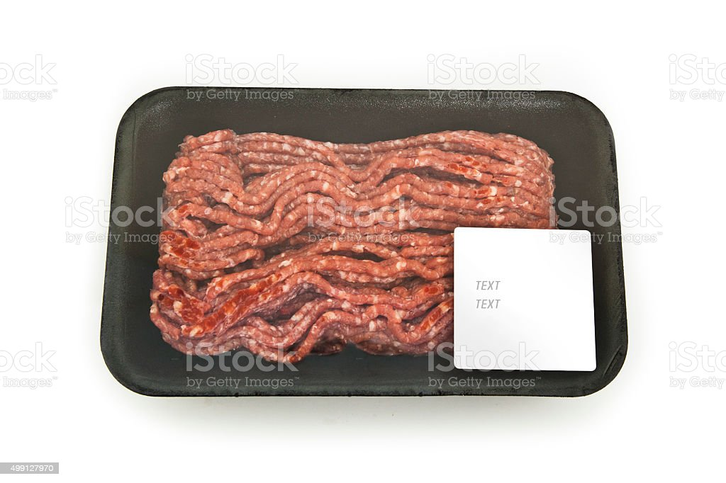 force meat in a package with a sticker stock photo