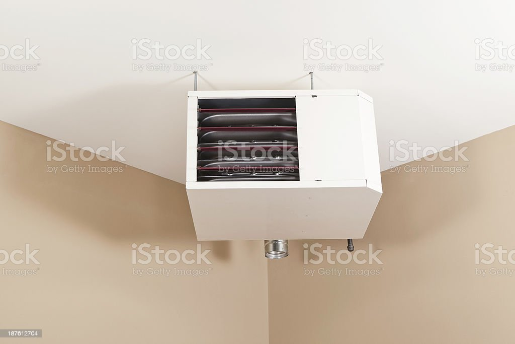 forced air natural gas ceiling mounted garage heater royaltyfree stock photo