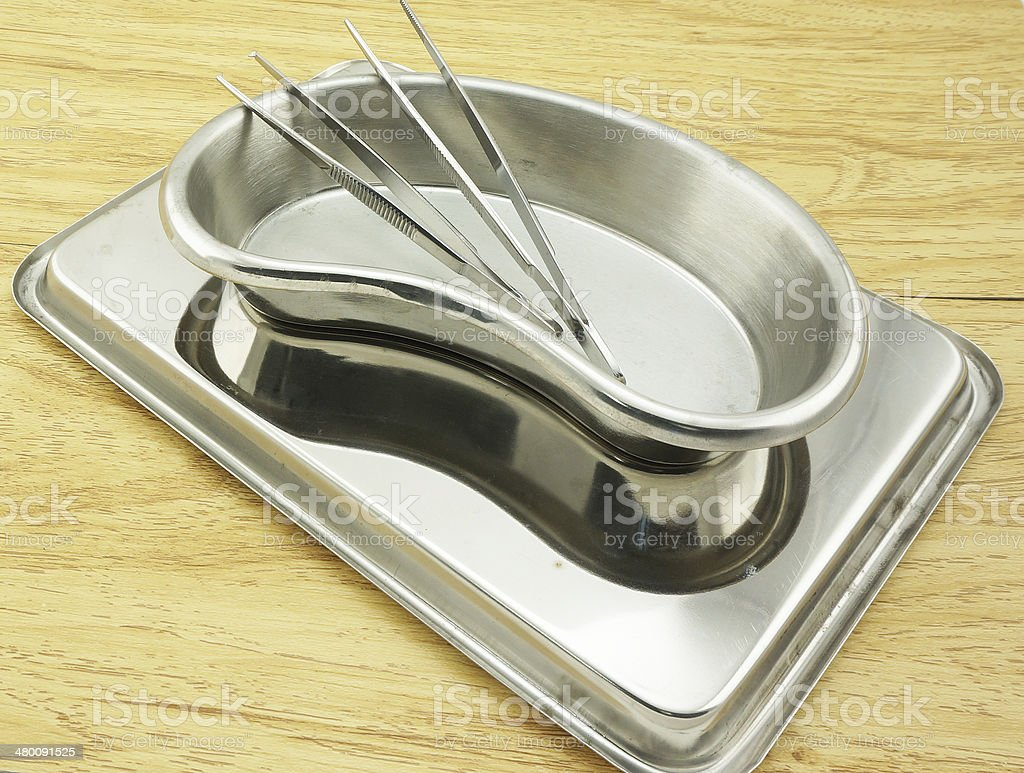 Forceps, kidney bowl, medical tray stock photo