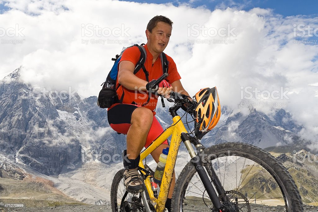 Forcing uphill at South Tyrol stock photo
