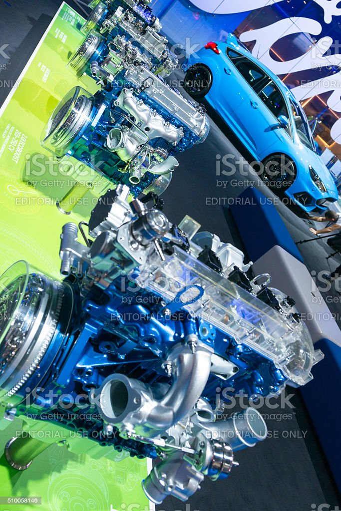 Ford Ecoboost engines and Ford Focus RS stock photo