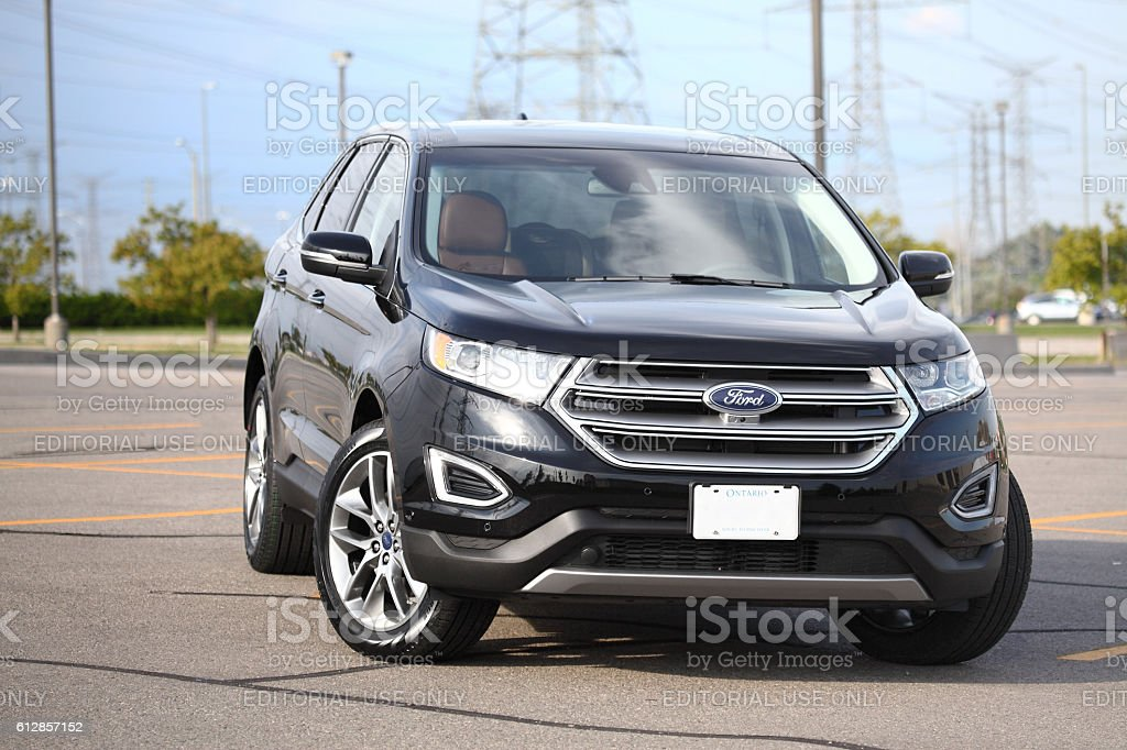 Ford Edge 2016 Titanuim in black with cognac leather stock photo