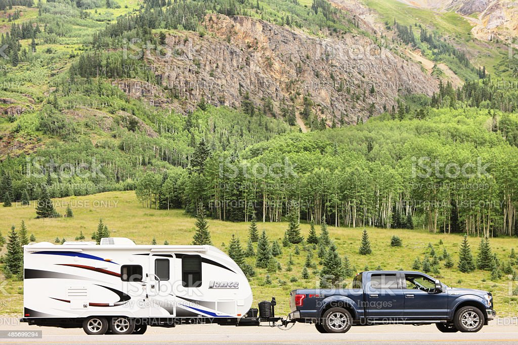 Ford F-150 Truck Lance Travel Trailer Camping stock photo