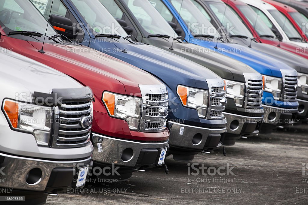 Ford F-250 Vehicles at a Car Dealership stock photo