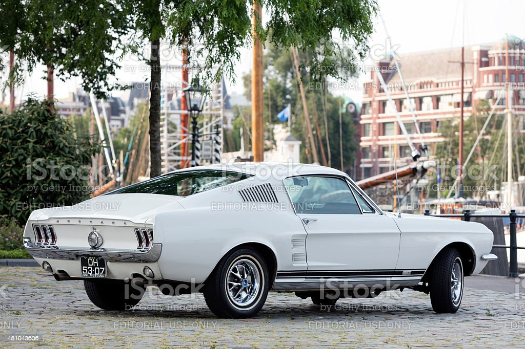 1967 Ford Mustang Fastback in Old Yacht Harbor in Rotterdam stock photo