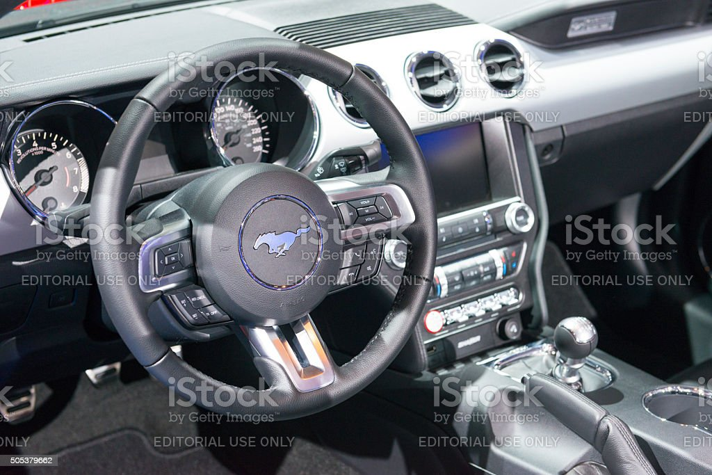 Ford Mustang GT Premium Convertible Muscle Car dashboard stock photo
